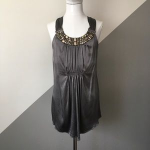 Cache Small Jeweled Neck Silk Tank Top Gray Moody